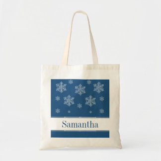 Let it Snow Tote Bag, Blue