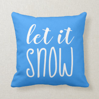 Let it Snow Typography Blue Throw Pillow