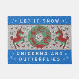 """""""Let it Snow Unicorns & Butterflies"""" Doormat (BB)"""