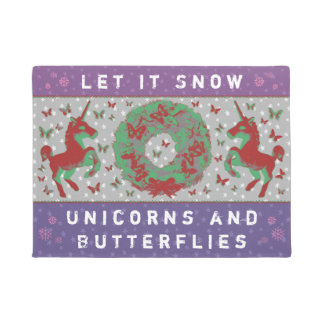 """Let it Snow Unicorns & Butterflies"" Doormat (MP)"