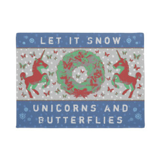 """Let it Snow Unicorns & Butterflies"" Doormat (NB)"