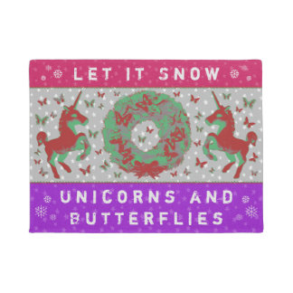 """Let it Snow Unicorns & Butterflies"" Doormat (PP)"
