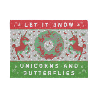 """Let it Snow Unicorns & Butterflies"" Doormat (RG)"