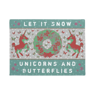 """Let it Snow Unicorns & Butterflies"" Doormat (Tl)"