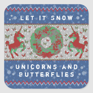 """Let it Snow Unicorns & Butterflies"" Stickers (NB)"