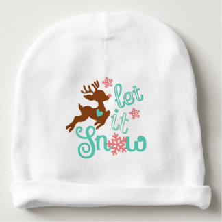 Let it snow - Winter Christmas Design Baby Beanie