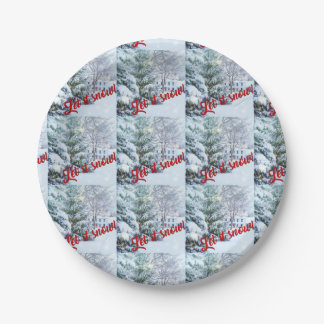 Let it Snow Winter Holiday Christmas Paper Plate