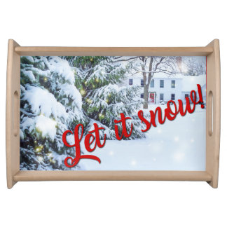 Let it Snow Winter Holiday Christmas Serving Tray