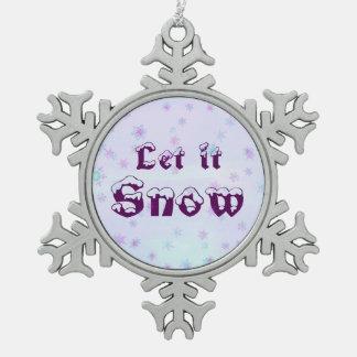Let it Snow! Winter Sky Snowflakes Polka Dots Pewter Snowflake Decoration
