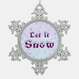 Let it Snow! Winter Sky Snowflakes Polka Dots Snowflake Pewter Christmas Ornament