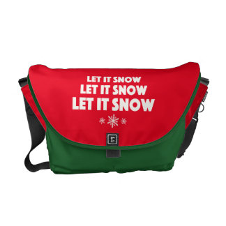 Let It Snow - with snowflakes Courier Bags