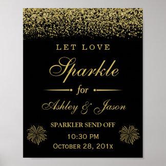 Let Love Sparkle Gold Glitter Wedding Sign Poster