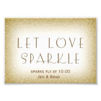 Let love sparkle - gold sparkler send off photo print