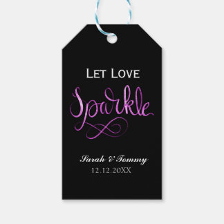 Let love sparkle tags wedding or party tags