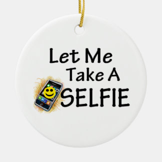 Let Me Take A Selfie Double-Sided Ceramic Round Christmas Ornament