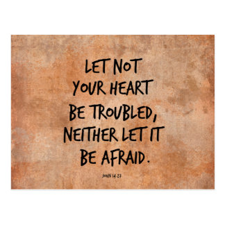 Let not your heart be troubled bible verse postcard