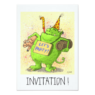"let´s party ! funny invitation card 5"" x 7"" invitation card"