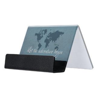 Let the adventure begin desk business card holder