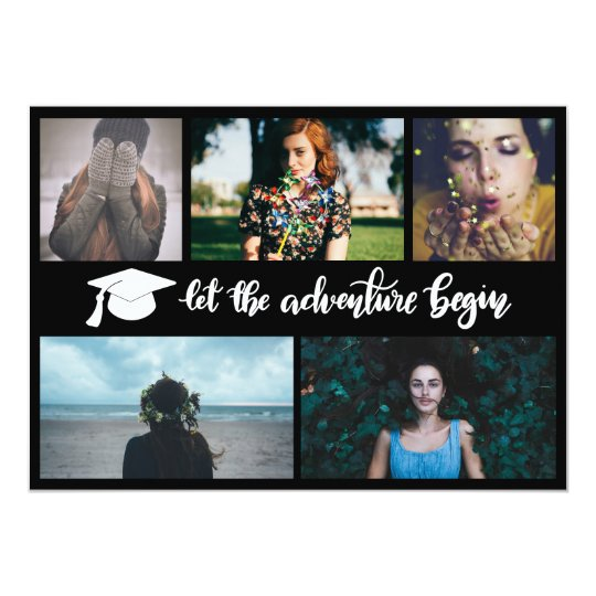 Let The Adventure Begin Handwritten | Graduate Hat Card
