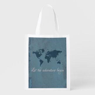 Let the adventure begin reusable grocery bag