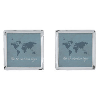 Let the adventure begin silver finish cuff links