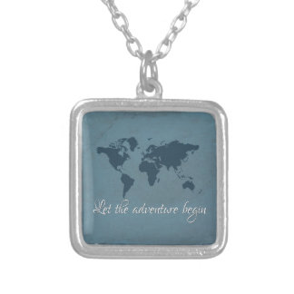 Let the adventure begin silver plated necklace