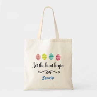 Let the Hunt Begin Personalized Fun Easter Tote Bag