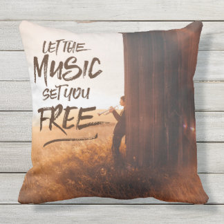 Let the Music Set You Free Musician Photo Template Cushion