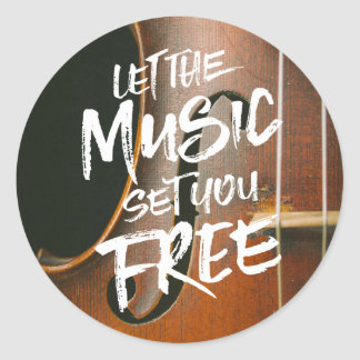 Let the Music Set You Free Musician Photo Template Round Sticker
