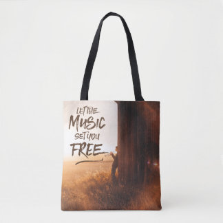 Let the Music Set You Free Musician Photo Template Tote Bag