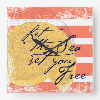 Let the Sea Set You Free Square Wall Clock