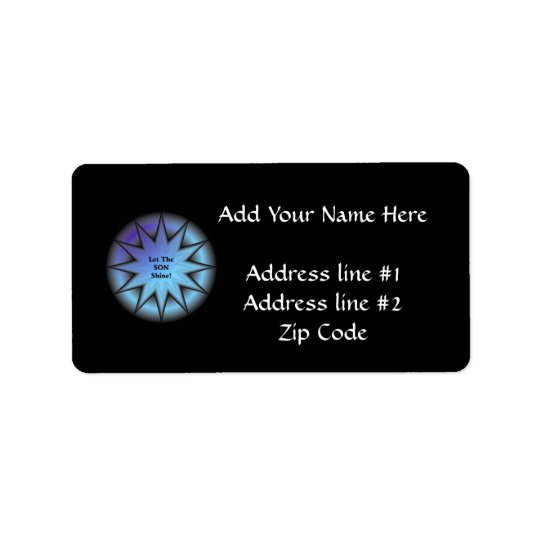 """Let the Son shine"" sunburst in blue Address Label"