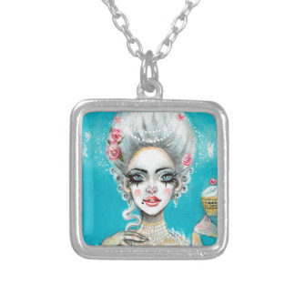 Let them eat cake mini Marie Antoinette cupcake Silver Plated Necklace