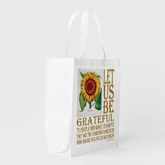 Let Us Be with Pink Rose & Sunflower - Grocery Bag