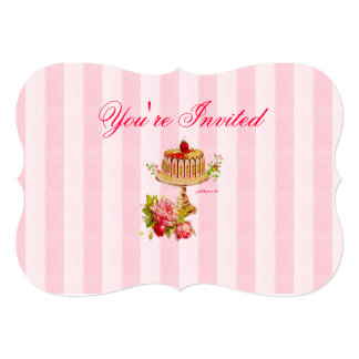 "Let Us Eat Cake 5"" x 7"" Shaped Invitations"
