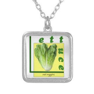 Let Us Eat Veggies Silver Plated Necklace