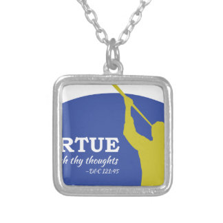 """""""Let Virtue Garnish Thy Thoughts"""" Angel Moroni Silver Plated Necklace"""