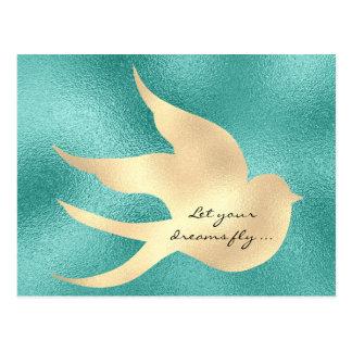 Let Your Dream Fly Motivational Mint Green Bird Postcard