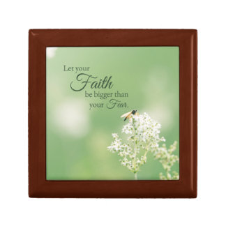 """""""Let your Faith…"""" Christian Quote Floral Flower Small Square Gift Box"""