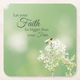"""Let your Faith…"" Christian Quote Floral Flower Square Paper Coaster"