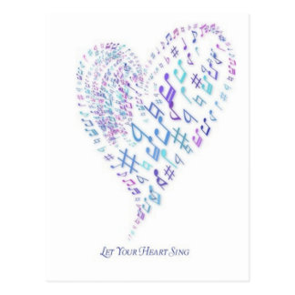 Let Your Heart Sing - Heart made of musical notes Postcard