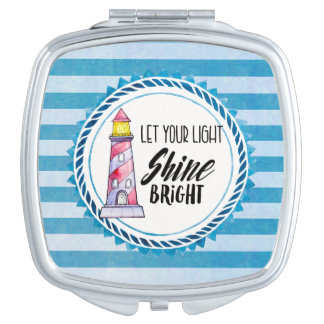 Let Your Light Shine Bright Lighthouse Typography Mirrors For Makeup