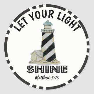 Let your Light Shine Lighthouse Matthew 5:16 Classic Round Sticker