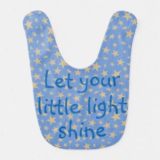 Let Your Little Light Shine Gold Stars Blue Bib