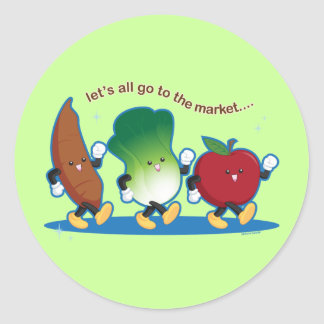 Let's All Go to the Market Classic Round Sticker