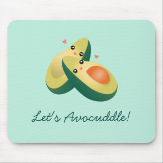 Let's Avocuddle Funny Cute Avocados Pun Humor Mouse Pad
