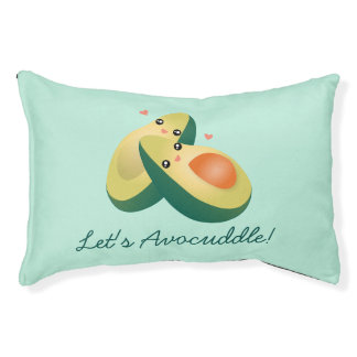 Let's Avocuddle Funny Cute Avocados Pun Humor Pet Bed