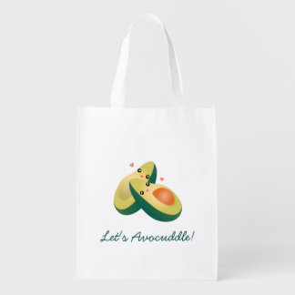 Let's Avocuddle Funny Cute Avocados Pun Humor Reusable Grocery Bag