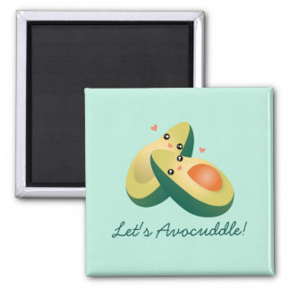 Let's Avocuddle Funny Cute Avocados Pun Humor Square Magnet