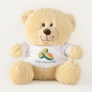 Let's Avocuddle Funny Cute Avocados Pun Humor Teddy Bear
